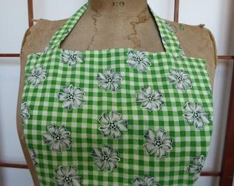 Vintage Green & White Gingham Floral Bib Apron - Large