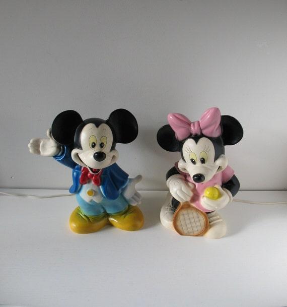 70er Jahre Set Micky Maus & Minnie Mouse Nachtlicht aus Heico