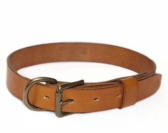 Handmade Tan Leather Dog Collar - Solid Brass Hardware