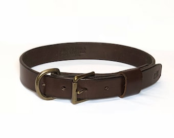 Handmade Brown Leather Dog Collar - Solid Brass Hardware
