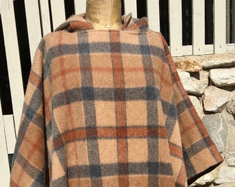 Vintage Plaid Hooded Cape / Poncho