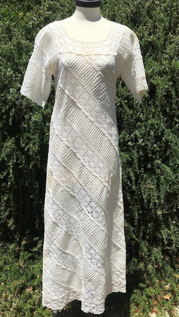 Vintage 60's/70's Mexican Wedding Dress Maxi