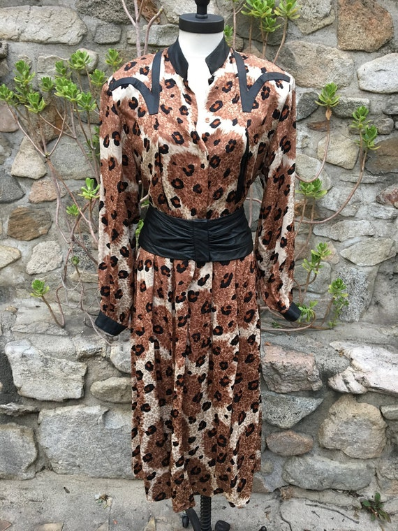 Fresh 80's Silk Leopard Two piece Ensemble / Size