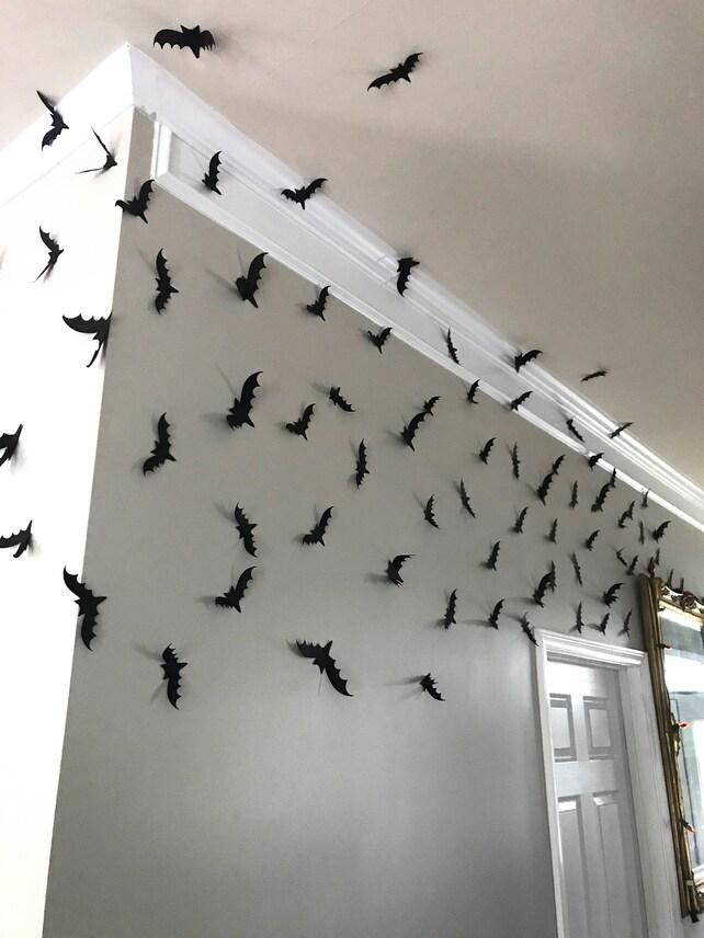 Black Bats Halloween Bats Wall Bats Card stock Bats | Etsy