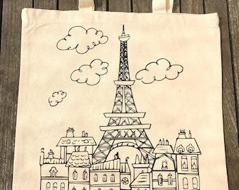 Canvas Tote bag, Paris bag, Eiffel tower, Travel bag, French Tote, Paris Skyline, Shoulder bag, Cotton tote bag, France, kids tote bag
