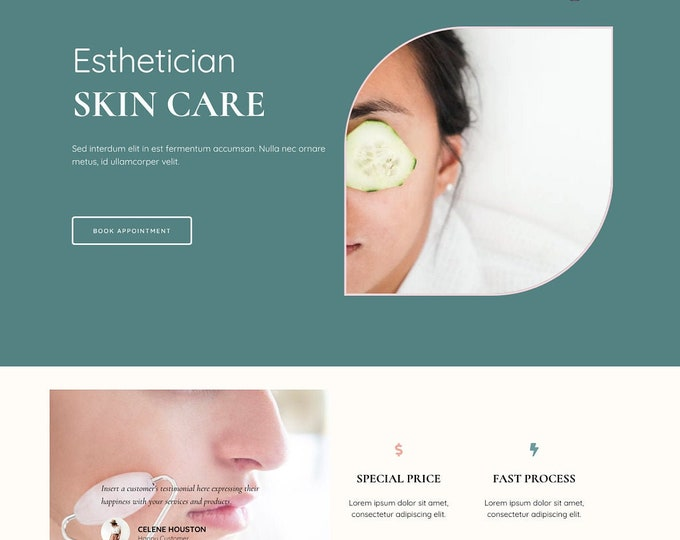 Esthetician Landing Page for Elementor Template - Skin Care Landing Page for Cosmetologists and Estheticians | WordPress Template