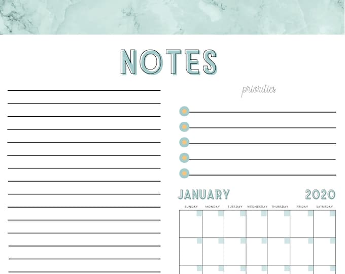 Notepad Paper for Planner Kit - Canva Template - Undated Calendar with Priorities, To Do Lists and Notepapers - 10 pages