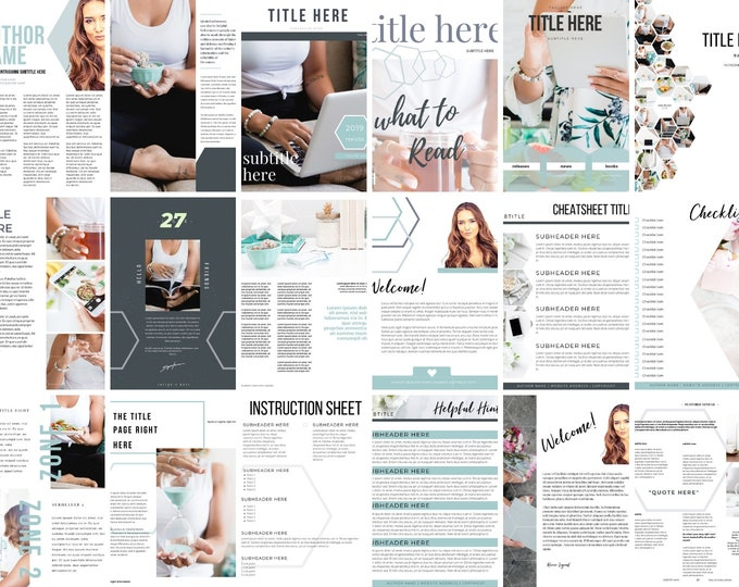 Featured listing image: Lead Magnet & Content Upgrade Bundle for Canva - Hexagon Set - Designed for Writers and Bloggers - Bonuses Included