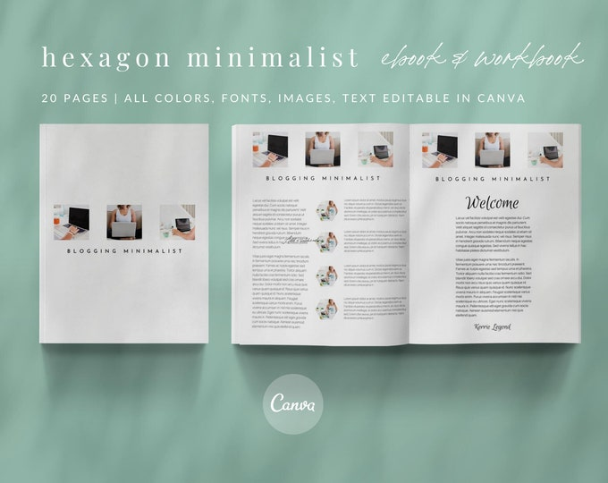 Turquoise eBook and Workbook Lead Magnet Template for Canva Template - 20 page eBook Template for Bloggers and Course Creators