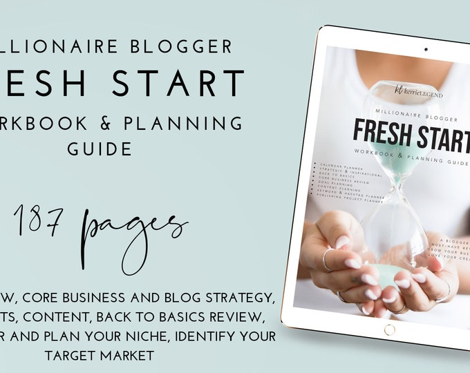 Millionaire Blogger Fresh Start Workbook & Planner Guide - 180+ pages - PDF - EBOOK - Blog Planner