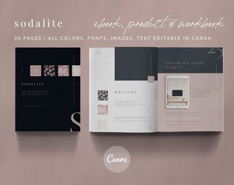30-Page eBook & Workbook Canva Template - SODALITE