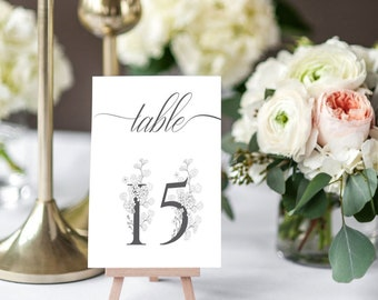 Wedding Table Numbers Printable, Table Numbers Template, Calligraphy Table Numbers, 8x10, 5x7, 4x6, Instant Download, KLDBLG Printable
