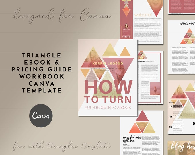 eBook and Pricing Guide Canva Template with Triangle Theme, Blogger Canva Magazine Template, Lead Magnet, Content Upgrade