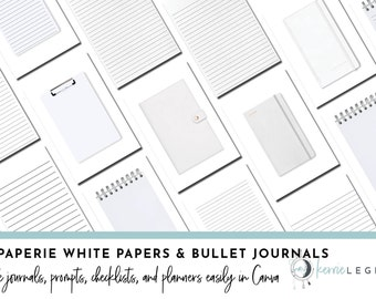 Le Paperie White Papers & Bullet Journal Canva Template Kit | Journal Prompts | Writing Journal Templates | Goodnotes