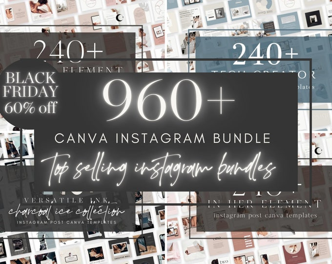 BLACK FRIDAY 960+ Instagram Post Bundle with Bonus Instagram Carousel - Canva Templates for Course, eBook Promotion, Engagement, Education