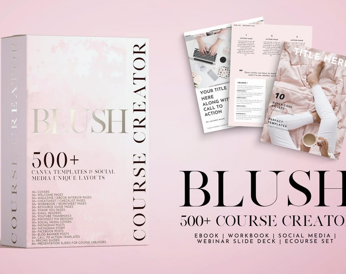 500+ Blush Course Creator Canva Templates | eBook | Magazine | Lead Magnet | Opt-in Freebie | Canva Templates | Lady Boss Templates