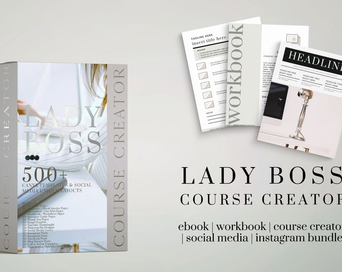 500+ Canva Template Lead Magnet Bundle - Classic Boss Lady Design - Matching Elementor Available - eBook, Workbook, Checklists, Social Media