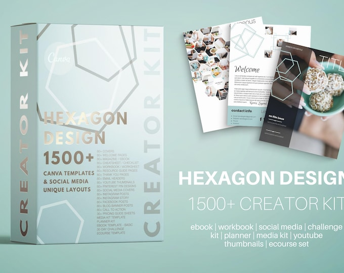 Course Creator Kit for Canva - HEXAGON DESIGN - Lead Magnets, Social Media, Challenge Template, Media Kit, Planner, eBook, Workbooks & More