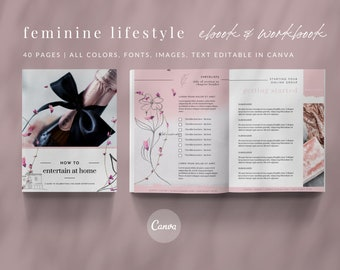 Feminine eBook & Workbook Canva Template Design - Feminine Pink - Plus Bonus 10 Pinterest and 10 Instagram Matching Canva Templates