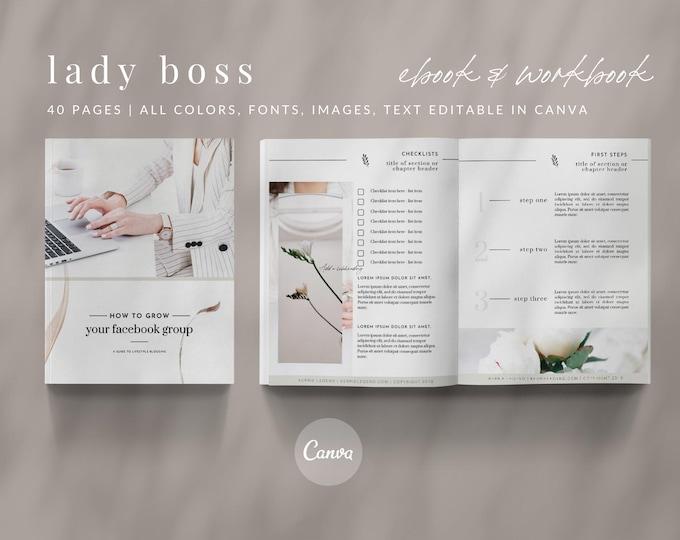 eBook & Workbook Canva Template Design - Lady Boss - Plus Bonus 10 Pinterest and 10 Instagram Matching Canva Templates