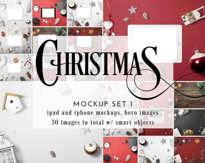 Christmas Stock Photo with iPad and iPhone Mockups and Smart Objects - PSD and JPG Stock Photos for Holidays