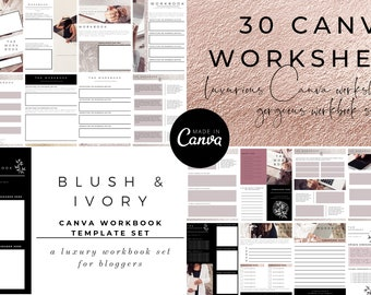 30 Canva Workbook Templates | Worksheet Templates | Rose Gold Template | Blush & Ivory Canva Template