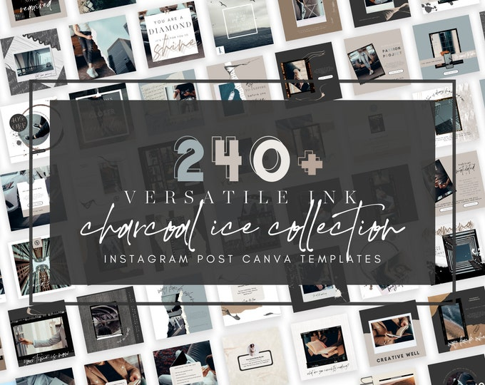 240+ Instagram Templates for Canva - VERSATILE INK Charcoal Ice - Canva Templates for Course, eBook Promotion, Engagement, Education