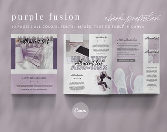 10-Page Promotional eBook for Canva Template - PURPLE FUSION