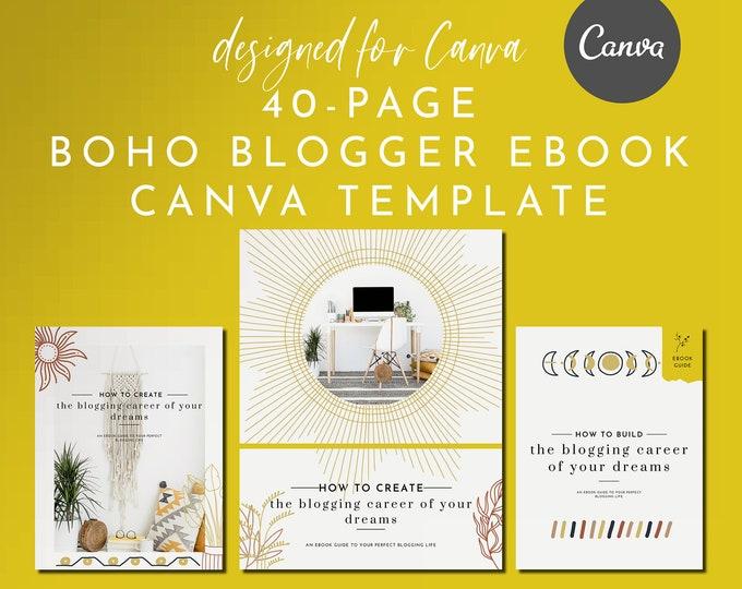 40-Page eBook & Workbook Canva Template Boho Blogger Design Plus Bonus 10 Pinterest and 10 Instagram Matching Canva Templates