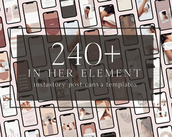 240+ InstaStory Templates for Canva - In Her Element - Canva Templates for Course, eBook Promotion, Engagement, Education, Inspiration