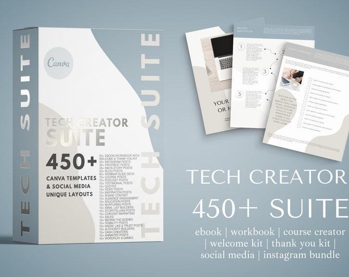 Tech Creator Canva Template Suite - ebook, workbook, welcome kit, thank you/exit template, social media, Pinterest, and more