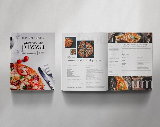Recipe Book Canva Template Set - THE CHEF - 20 Pages, Recipe Template, Cookbook Template, Magazine Template