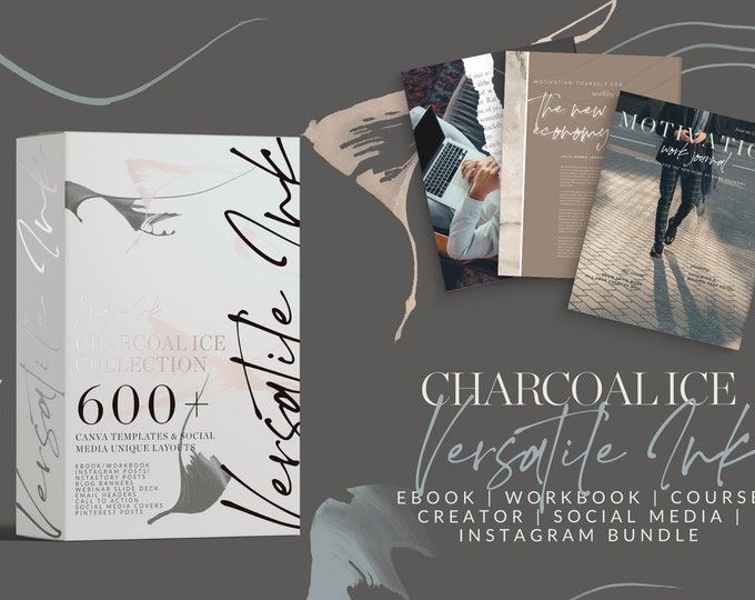 Canva Template Bundle - VERSATILE INK - Charcoal Ic - ebook, workbook, worksheets, instastory, instagram templates, social media, Pinterest