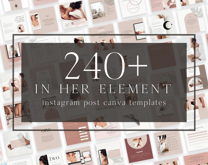240+ Instagram Templates for Canva - In Her Element - Canva Templates for Course, eBook Promotion, Engagement, Education, Inspiration