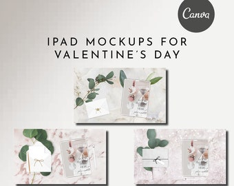 12 iPad Mockups Valentine's Day - Canva Temp - Fully Editable Elements
