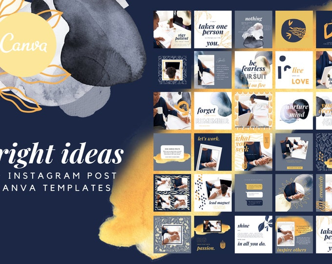 Bright Ideas Instagram Templates for Canva - 30 Instagram Canva Templates for Course or eBook Promotion, Navy Blue and Yellow