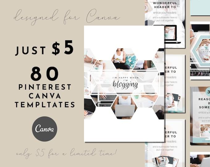 80 Customizable Pinterest Templates for Canva - Turquoise Hexagon Design Templates
