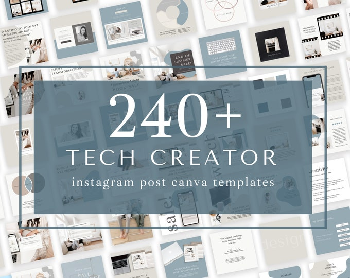 240+ Instagram Templates for Canva -Tech Creator - Canva Templates for Course, eBook Promotion, Engagement, Education, Inspiration
