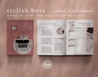 20-Page eBook Workbook Checklist Canva Template - STYLISH BOSS 20-Page - Stylish Boss Collection