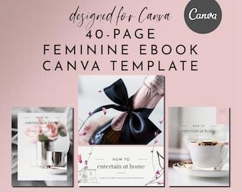 Feminine eBook & Workbook Canva Template Design - Feminine Pink - Plus Bonus 10 Pinterest and 10 Instagram Matching Canva Templates