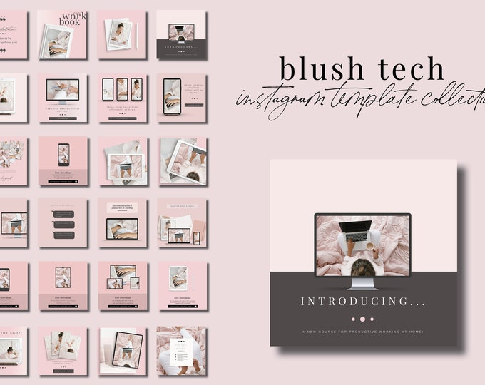 Blush Tech Instagram Templates for Canva - 30 Instagram Canva Templates for Course or eBook Promotion