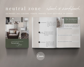 20-Page eBook Workbook Checklist Canva Template - NEUTRAL ZONE 20-Page - Neutral Zone Collection
