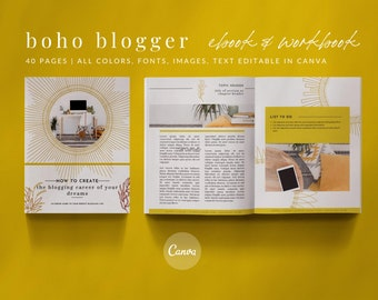 40-Page eBook & Workbook Canva Template Boho Blogger Design Plus Bonus 10 Pinterest and 10 Instagram Matching Canva Templates