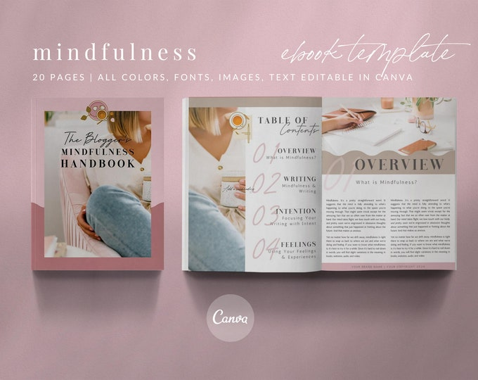 20-Page Canva Template - MINDFULNESS EBOOK - Calm, Mindfulness eBook for Health and Wellness Bloggers