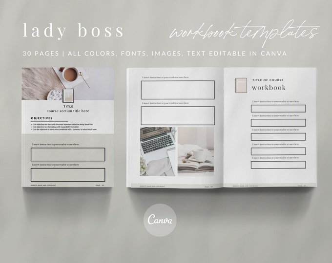 30 Canva Workbooks & Canva Worksheets - LADY BOSS | Canva Templates
