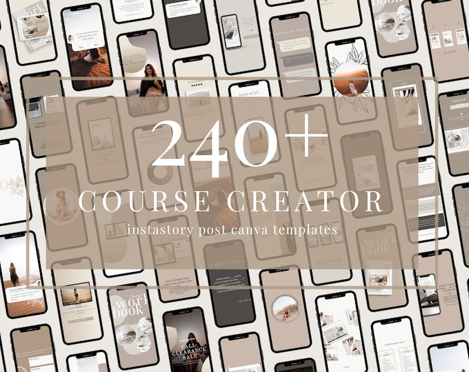 240+ InstaStory Templates for Canva - Course Creator - Canva Templates for Course, eBook Promotion, Engagement, Education, Inspiration