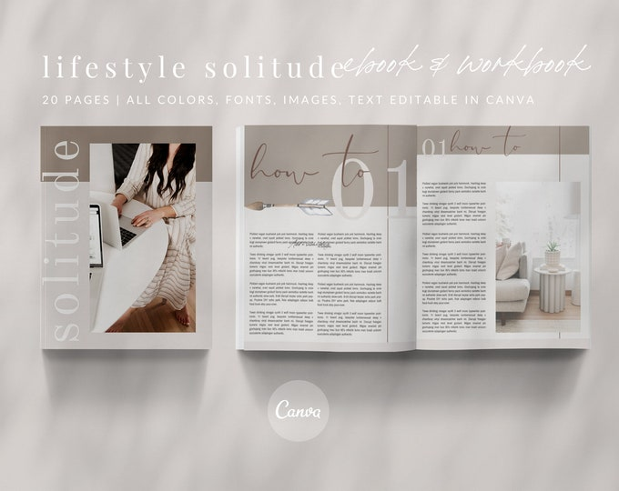 20-Page Canva Template - LIFESTYLE SOLITUDE - Calm, Minimalist eBook & Workbook for Lifestyle Bloggers
