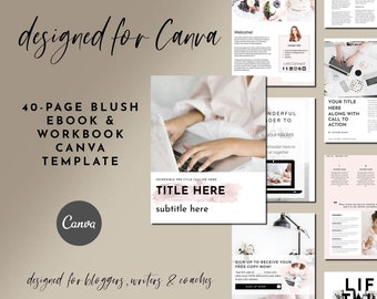 40-Page Blush eBook & Workbook Canva Template for Bloggers, Writers and Coaches - Checklists, Resource Guide, Workbook, Call to Action