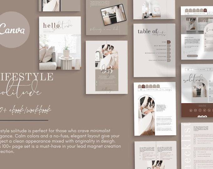 100-Page Canva Template - LIFESTYLE SOLITUDE - Calm, Minimalist eBook & Workbook for Lifestyle Bloggers, Writers and Coaches