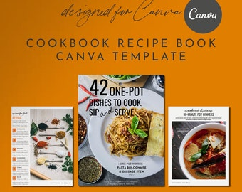 Recipe Cookbook Magazine Canva Template Set - 20+ Pages, Recipe Template, Cookbook Template, Magazine Template